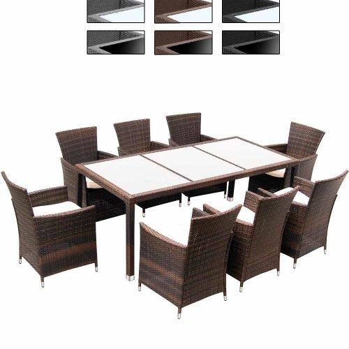 Set di mobili da Giardino in polyrattan Intrecciato & Tavolo, con Cuscini, Colore a Scelta, 17 Pezzi