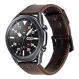 22mm Correa Piel para Hombre Correas de Cuero Genuina Reemplazo Banda/Pulsera Compatible con Samsung Galaxy Watch 3 45mm/Watch...