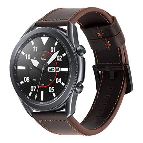 22mm Correa Piel para Hombre Correas de Cuero Genuina Reemplazo Banda/Pulsera Compatible con Samsung Galaxy Watch 3 45mm/Watch 46mm/Gear S3/Huawei Watch GT/GT2 46mm/Garmin Vivoactive 4-Café oscuro