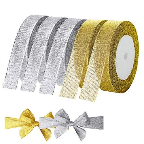 XunHe 125Yard Geschenkband 5Rolle Gold Silber Schleifenband zum basteln Goldband Glitzer Dekoband Goldenes Band für Geschenk Verpackung Hochzeit Weihnachten Dekoration