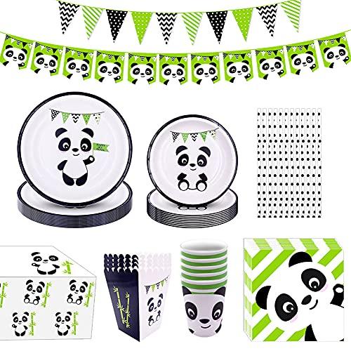 DreamJing Decoration Vaisselle Jetable Thème Panda - Assiette Carton Serviette Papier Nappe Paille Bannière pour Fournitures Fête Joyeux Anniversaire Baptême Mariage Enfant Garçons Filles Adulte