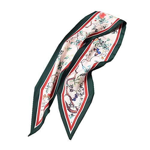 Lfchujian zijden sjaal dames sjaal zijde sjaals wilde sjaal lange dunne sectie lente en herfst zomer zonnebrandcrème sjaal strand handdoek wrapsthorns, donkergroene randen