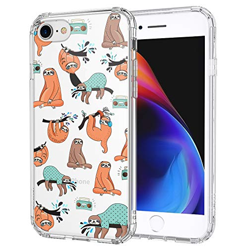 MOSNOVO iPhone SE 2020 Case, iPhone 8 Case, iPhone 7 Case, Cute Sloth Pattern Printed Clear Design Transparent Plastic Back Case with TPU Bumper Case Cover for iPhone 7 / iPhone 8 / iPhone SE 2020