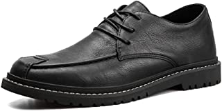 AiHua Huang Business Oxford for Men Formal Shoes Lace Up Genuine Leather Flat Vegan Breathable Soft Rubber Soles Casual Round Toe (Color : Black, Size : 6.5 UK)