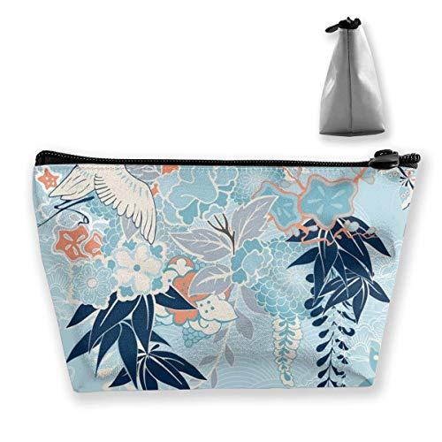 Motivo de Kimono con grúa y Flores, Bolso Trapezoidal Personalizado para Mujer,...