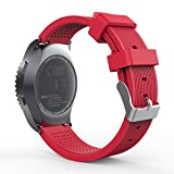 MoKo Gear S2 Classic Correa del Reloj, Reemplazo Silicona Deportiva WatchBand para Garmin Vivoactive 3/Samsung Galaxy Watch 42mm/Galaxy Watch Active/Gear S2 Classic SM-R732/R735/Ticwatch 2, Rojo