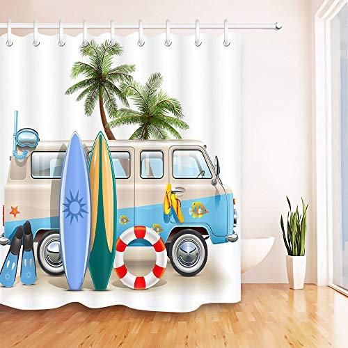 N/ Hippie Surfer Beach Palm Tree Tabla de Surf Cortina de Ducha Forro Tela Impermeable 183 * 183CM