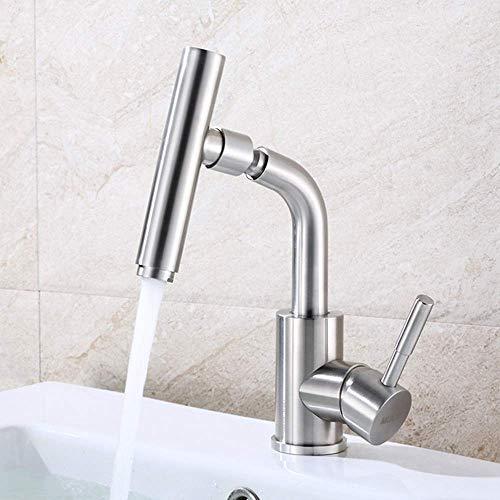 No Brand® CKQ-KQ badkamerwastafel van roestvrij staal, 360 ° draaibaar, creatieve microfoon, warm en koud water instelling, kraangat, mooie praktijk