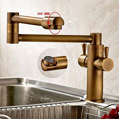 FHLYCF küchenarmatur kupfer - teleskop kaltes wasser versenken 360 rotary pflanzliche waschbecken wasserhahn nachahmung vergoldetes silber patina,b
