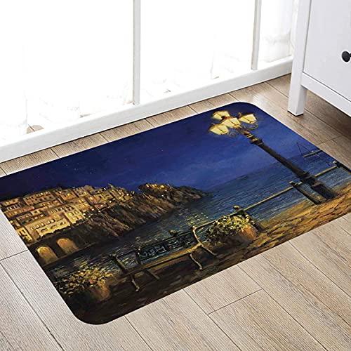 Alfombra de baño súper Suave de 50 x 80 cm,Italia, Noche Estrellada y romántica en la Costa de Amalfi en Italia Estilo de Pintura al óleo, a Alfombra de baño Absorbente Antideslizante