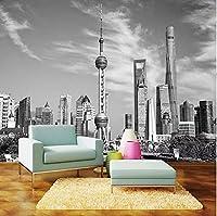 カスタム写真の壁紙モダンな黒と白の都市建築壁画リビングルームテレビの背景壁紙壁3D家の装飾-150Cm×105Cm