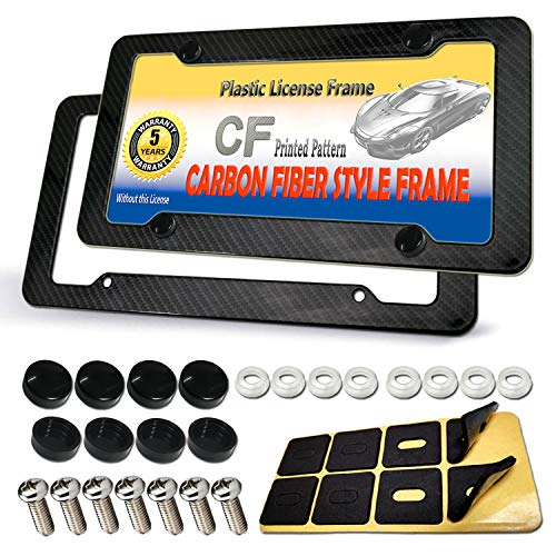 License Plate Frames Carbon Fiber - Slim Plastic Printed Carbon Pattern Black Plate Frame Front & Rear 2pcs Set 4 Holes with Fasteners Screws and Black Screw Caps, Glossy Finish