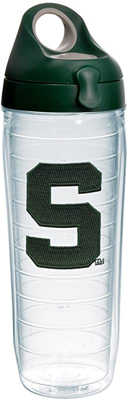 Tervis 1232320 Michigan State Spartans Block S Insulated Tumbler With Emblem And Hunter Green With Gray Lid 24oz Water Bottle Clear