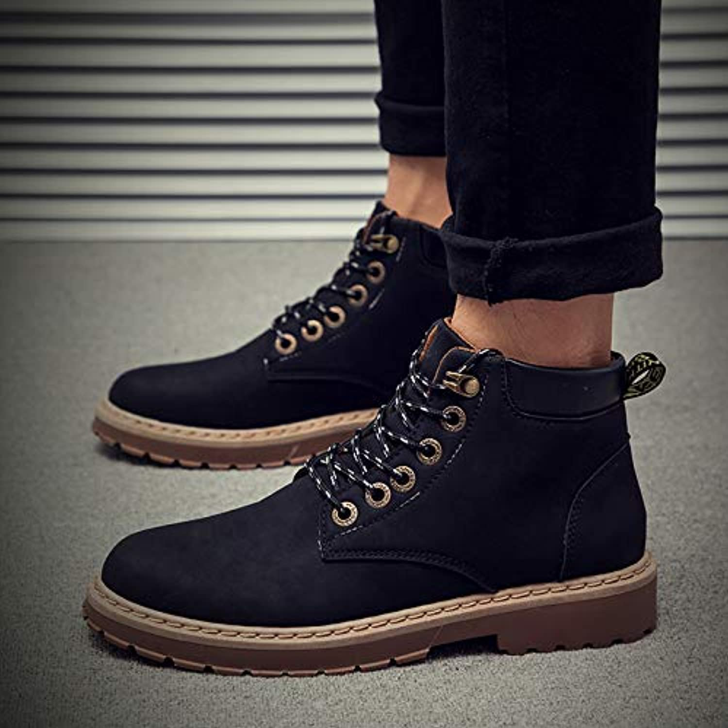 Shukun Men's boots Increased Martin Boots Men'S Casual shoes, Wild High-Top Tooling shoes, Winter shoes