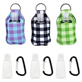 Hemoton 3 Piezas Botella de Viaje Llavero Set 30Ml Botella de Plástico Vacía Recargable Portador de Desinfectante de Manos Cubierta Protectora de Celosía con Mosquetón para Viajar a La