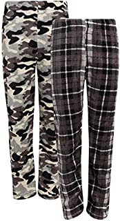 Image of Fleece 2 Pack Plaid and Camo Pajama Pants for Boys - See More