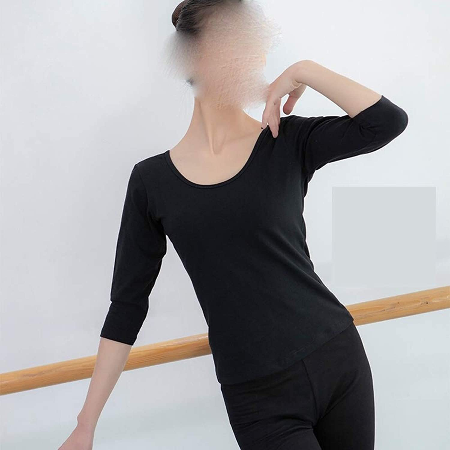 Qi Peng Dance Suit Female Adult Round Neck Slim Training Clothes Shirt Ballet Test Base Training Suit Body Suit Dancing unifom (color   Long Sleeve A, Size   S 155cm)