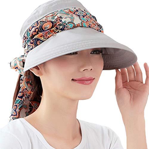 YWSZJ 2-en-1 Verano Sombrero con Protector Solar Plegable Que Cubre la Cara y Cuello, se Puede Utilizar for Viajes de Placer
