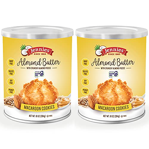 Jennies Famous Coconut Macaroons - 2 Pack - Delicious Almond Butter Flavor - Macaroon Cookies to Eat - Gluten Free, Dairy Free, and Grain Free - About 30 Cookies Total (20 oz)