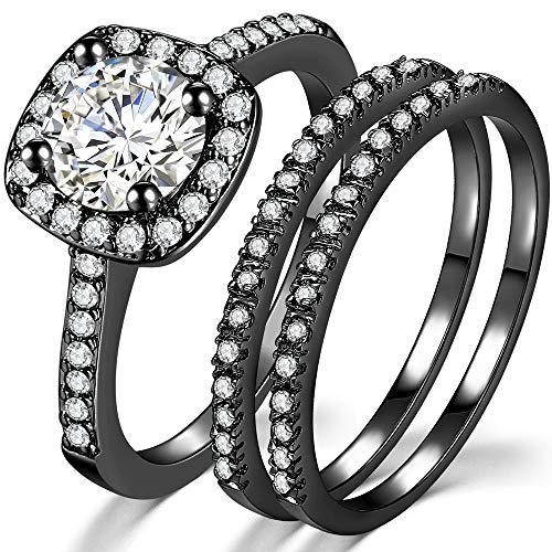 Silver Rose Gold Three-in-One Wedding Engagement Bridal Halo Ring Set (Black, 5)