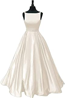 Jonlyc 2019 Satin Beaded Prom Dresses Long A-line Open Back Evening Party Dress for Women with Pockets