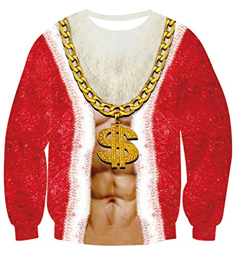 Women's Pullover Sweaters Top Coat Unisex Men Christmas Sweatshirts 2019 Costume Cosplay Ladies Autumn Winter Warm Clothing Long Sleeve Red Jumper with Gold Dollar Necklace