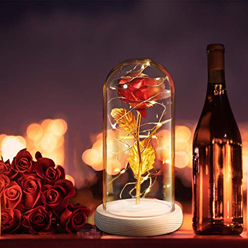 Rosas eternas de La Bella y la Bestia, rosas artificiales, regalo para mujer, novia, madre, abuela, regalo de San Valentín, Día de la Madre, cumpleaños, Navidad, aniversario