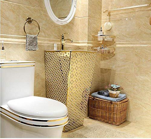 DWSS Fregadero de lavabo Fregadero de pedestal rectangular geomitric dorado Lavabo de baño de cerámica con soporte Lavabo de pedestal con rebosadero