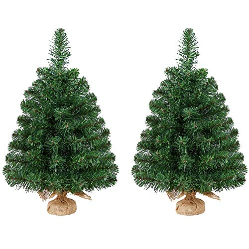 YAHEETECH 3ft Tabletop Unlit Christmas Tree for Bedroom, Small Artificial Spruce Tree in Burlap Base for Table, 2 Pack