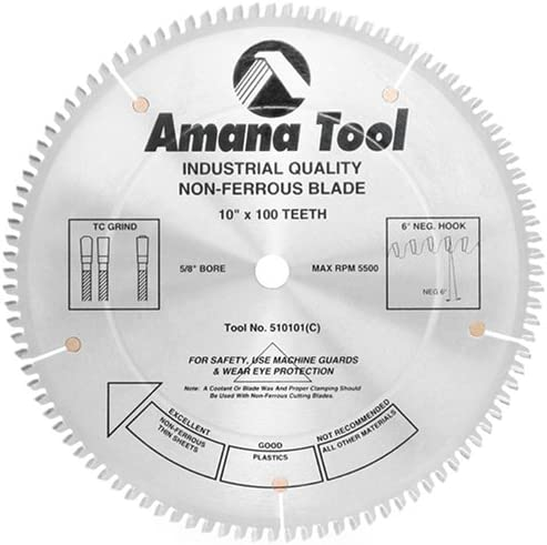 "wholesale Amana Tool - (510101) Carbide Tipped Aluminum & high quality Non-Ferrous Metals 10"" Dia x 100T wholesale Tcg, -6 Deg, 5/8 Bore online sale"
