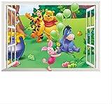Wall Sticker,Cartoon Animals Winnie Pooh for Kids Room Home Decor 3D Window Bear Tiger Nursery Home Decor Wall Decals 50X70Cm