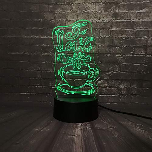 Creative Coffee 3D Night Light Led Table Lamp,7 Color Remote Control Lamp Children Bedside Slides Christmas Valentine's Day Romantic Birthday Gift