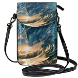 XCNGG Monedero pequeño bandolera Waves BigPhonepurse para mujer Bolsos Cuero Multicolor Bolsos para teléfonos inteligentes Monedero con correa extraíble
