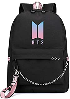 BTS Bangtan Boys Backpack KPOP Gift Merchandise Daypack Laptop Bag College School Bookbag Light Jungkook Jimin Suga v bighit Stick with USB Charging Port