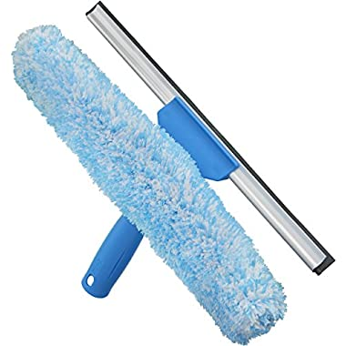 Unger Professional Microfiber Window Combi: 2-in-1 Professional Squeegee and Window Scrubber, 14
