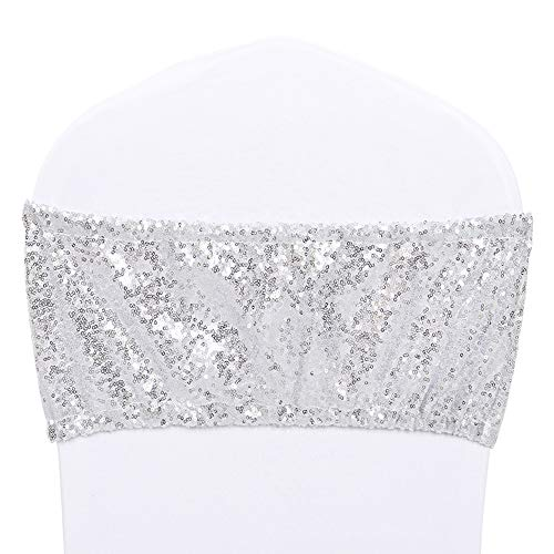 Helaku Spandex-Chair Sashes-Banquet Chair Covers-Sashe Chair-Silver Sequin Chair Sashes for Events 2PCS