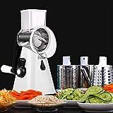 YU YUSING Cortador de verduras y verduras, rallador de tambor y queso, 3 en 1, multi-ralladora manual con 3 inserciones de tambor de acero inoxidable (color blanco)