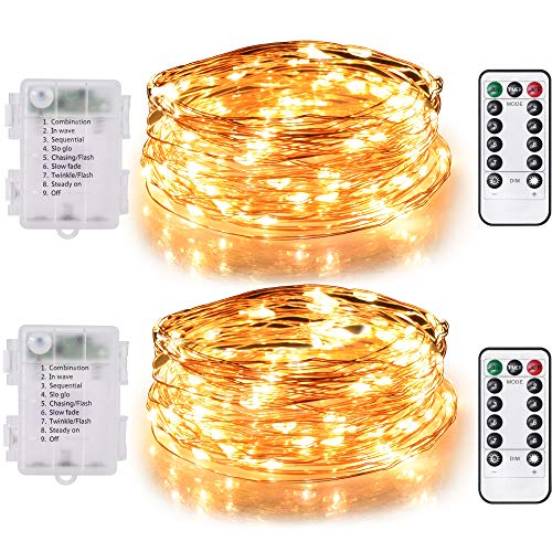 TEKLED String Fairy Lights | 100 LED [2 Pack] Decorative String Lights | Battery Powered with Remote Control | Waterproof Indoor Outdoor 33FT | Warm White | For Patio Garden Home Christmas Tree Party