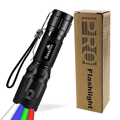 4 en 1 antorcha LED Super brillante 900 lúmenes. Luz rojo y verde, luz azul suave, luz multifuncional. Linterna de mano ajustable. Enfoque impermeable. Antorcha de bolsillo