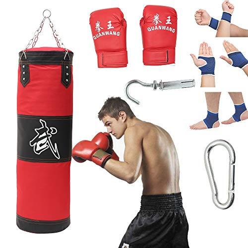 Saco de boxeo con cadena de acero de cuatro puntas Saco de arena vacío para Muay Thai Sparring Kickboxing Entrenamiento Punzonado Artes Marciales (A)