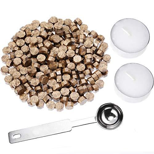 Perline ottagonali di ceralacca, con 2 candele da tè e 1 cucchiaio per fusione, per sigilli, 230 pezzi (colore bronzo)
