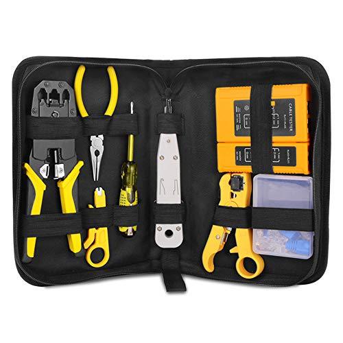 Adaskala Kit de herramientas de alicates de reparación de red RJ45 RJ11 RJ12 con probador de cables Herramienta de prensado de abrazadera de resorte Alicates de prensado