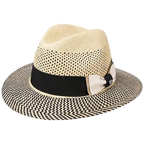 Lierys Classy Traveller Panamahut Sommerhut Sonnenhut Strohhut Strandhut Damen/Herren - Made in Italy Travellerhut mit Ripsband Frühling-Sommer - M (56-57 cm) Natur
