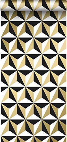 papier peint motif graphique or brillant, blanc et noir - 139118 - de ESTAhome