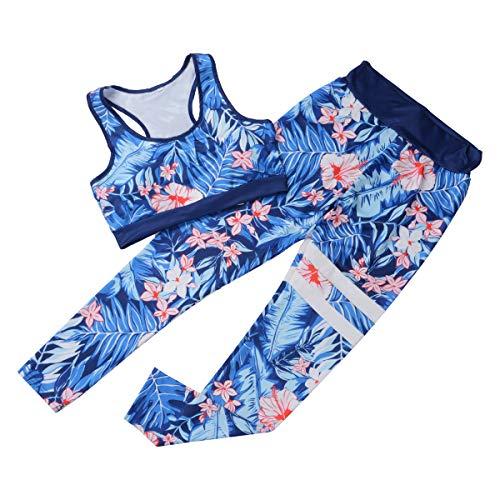 Traje de Entrenamiento para Mujer Conjunto de Mallas de Yoga de 2 Piezas sin Costuras Conjuntos Activos Sujetador Deportivo Ropa Deportiva (Blue, M)