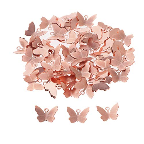 Dailymall 50pcs Metal Butterfly Charms Beads Bulk for DIY Craft Pendants Bracelet Necklace Earring Keychain Hair Jewelry Making Finding Accessories - rose gold