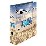 Herlitz 50036158 - Archivador (lomo de 8 cm, A4), diseño de cama de playa