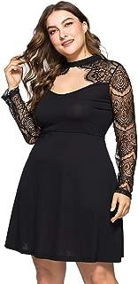 ROSIANNA Women's Vintage Floral Lace Round Neck Plus Size Mini Dresses Long Mesh Sleeves