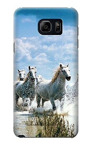 R0250 White Horse Case Cover For Samsung Galaxy S6 Edge Plus