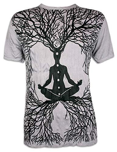 Sure Clothing Camiseta Hombre Wicca Guru del Arte Buda Yoga Hinduismo India Zen Tailandia Alternativa Ocio Hippie Boho Goa Guru Reggae (Gris L)